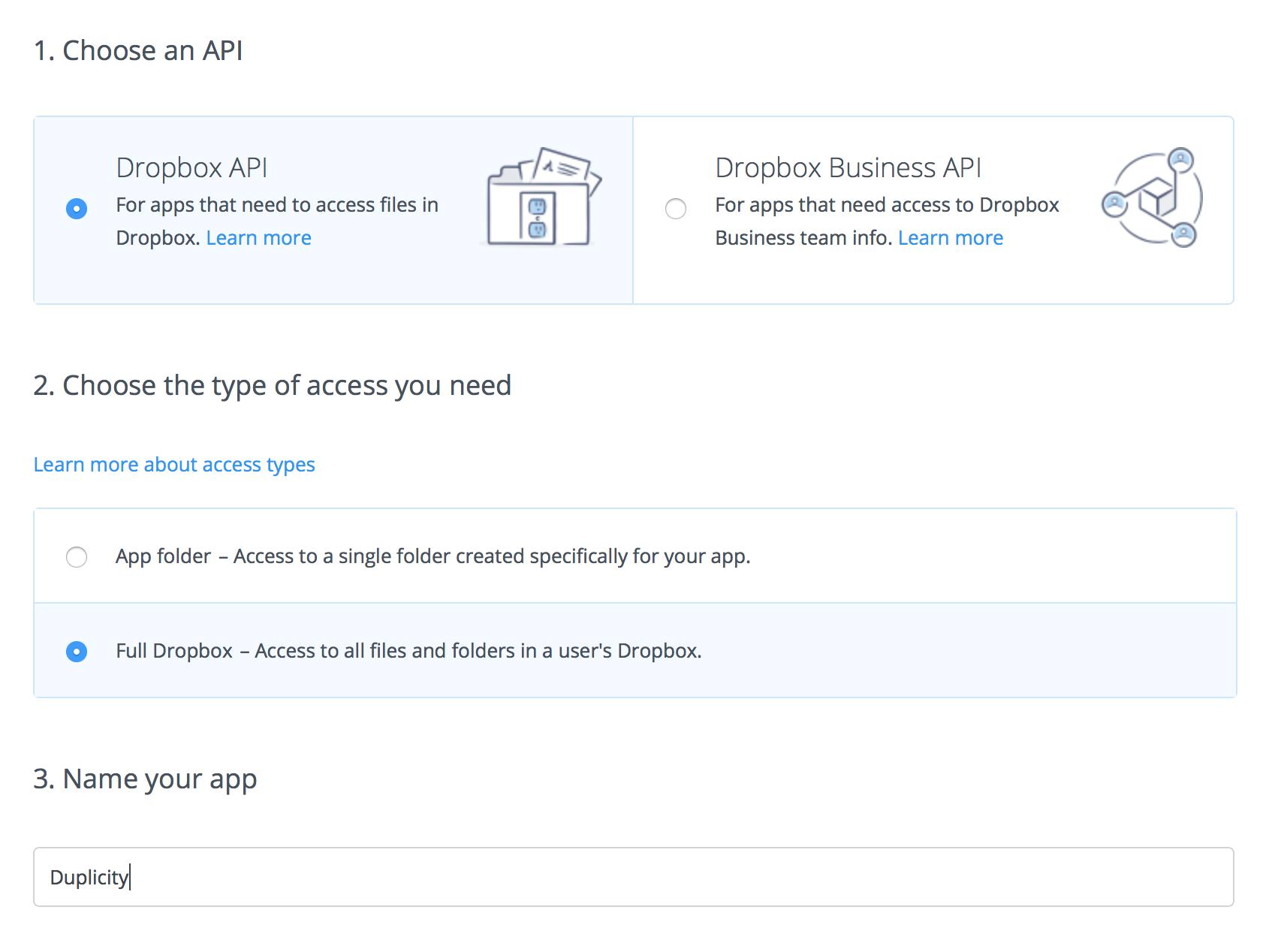 Creating a Dropbox application