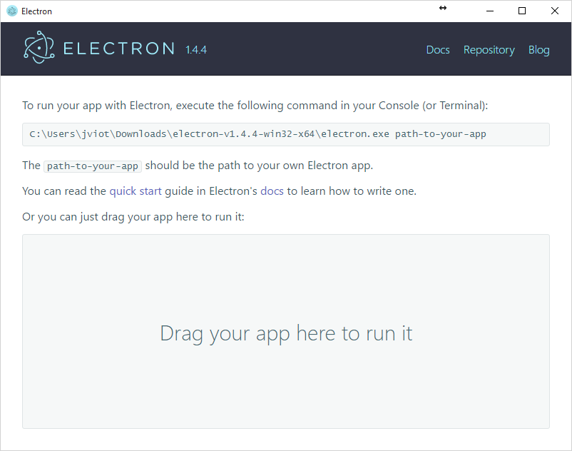 Electron default application