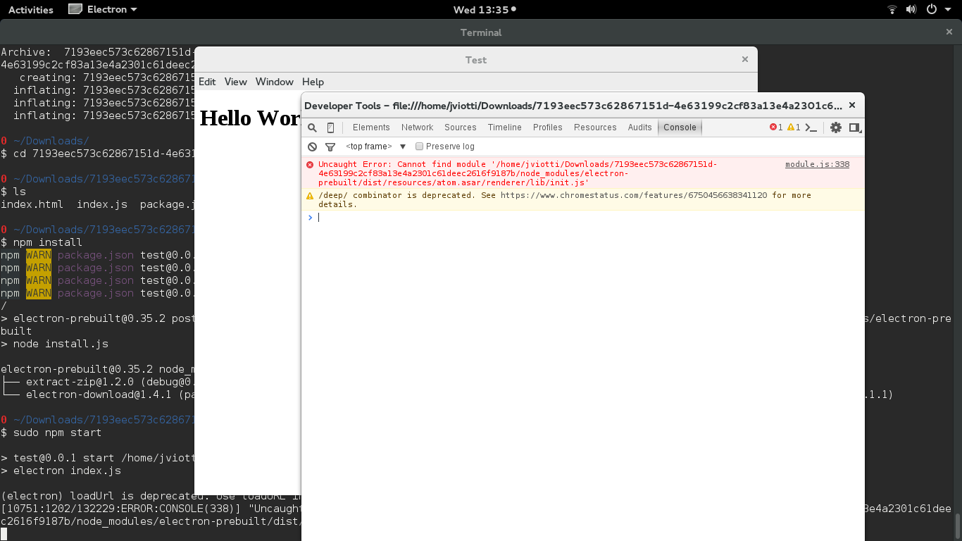 Demonstration of the error on Fedora 22