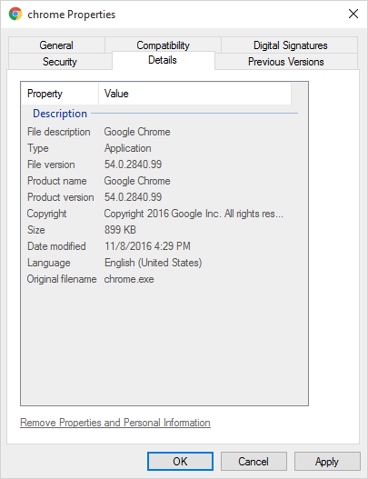 Google Chrome exe resources