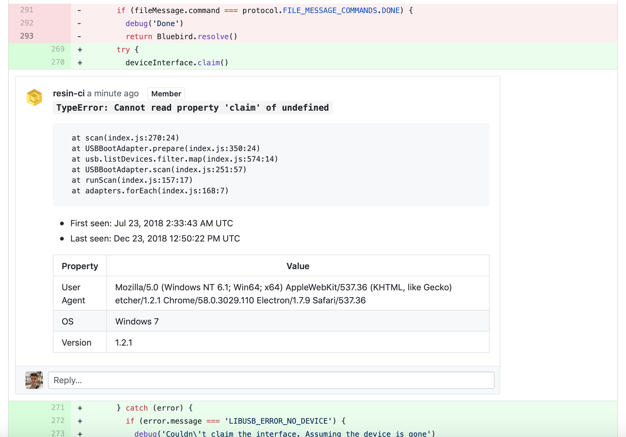 Inline error information as a pull-request comment