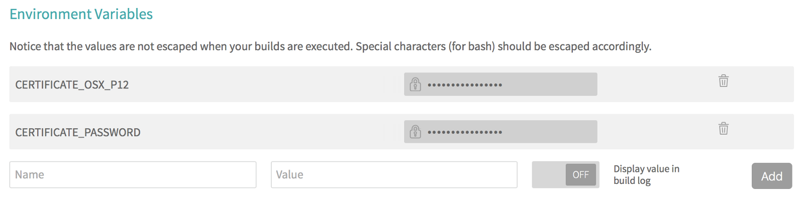 Travis CI secure environment variables